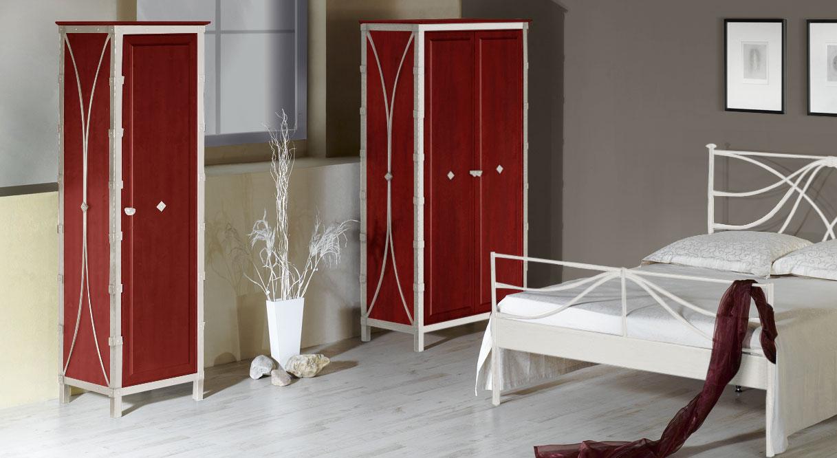 Kleiderschrank Arica in Weiß mit Silber und roter Eiche