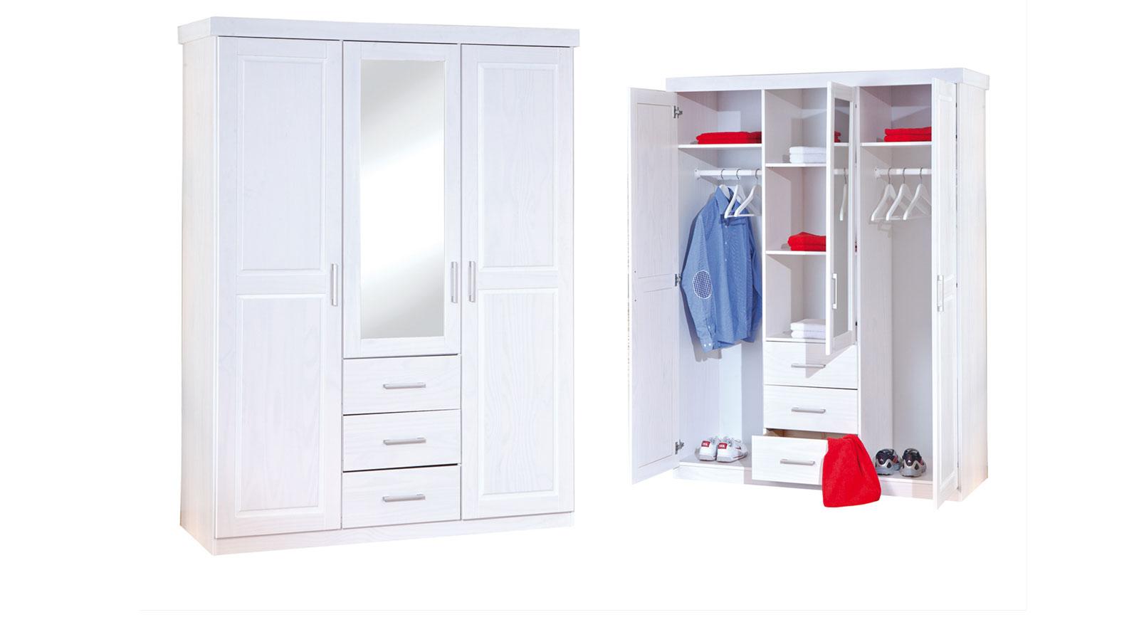 Massivholz-Kleiderschrank in Weiß mit Spiegel - Genf | BETTEN.at