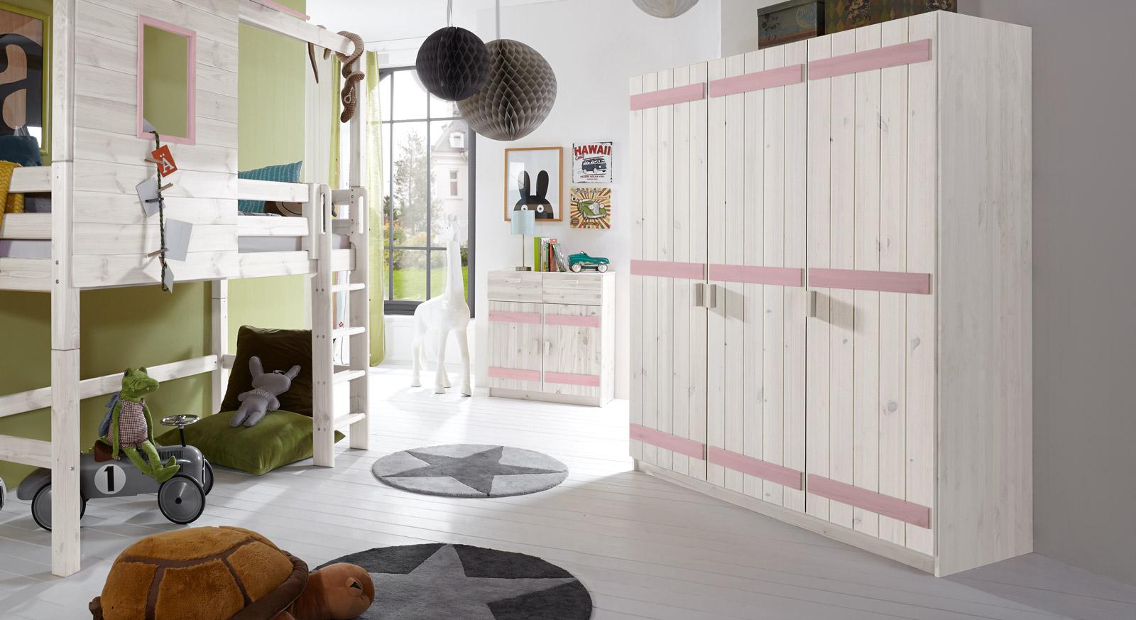 Dreitüriger Kleiderschrank Kids Paradise in Weiß und Flieder