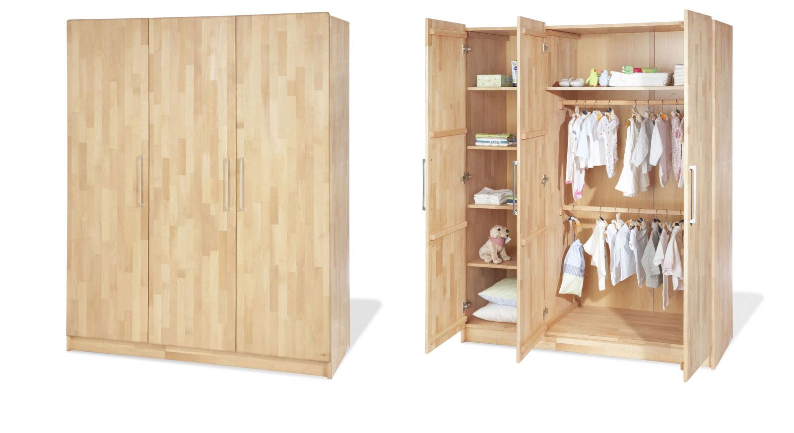Kleiderschrank Natura aus Massivholz mit drei Türen