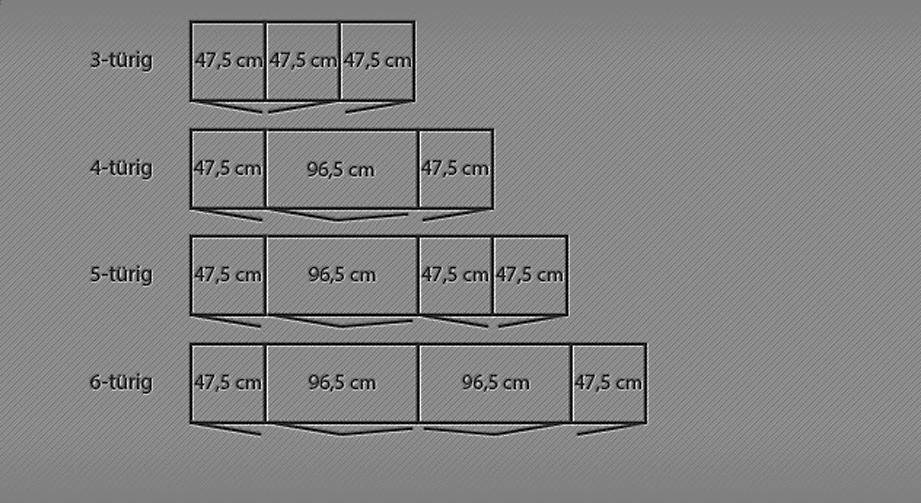 Maßgrafik zu den Breiten des Kleiderschranks Toride