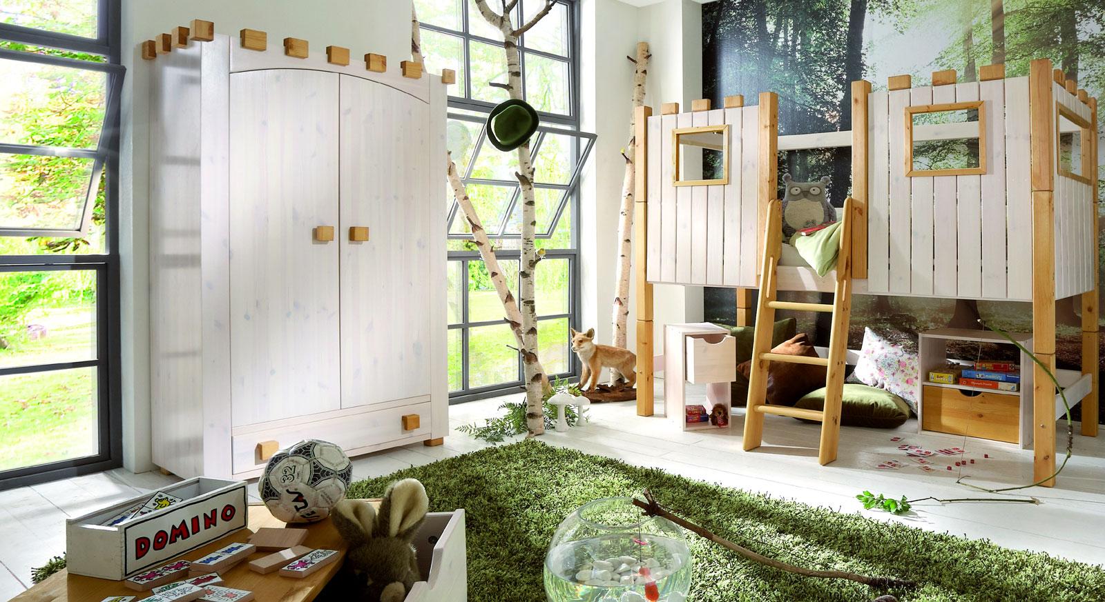 Kinder-Kleiderschrank Ritterburg aus Kiefer in weiß lasiert