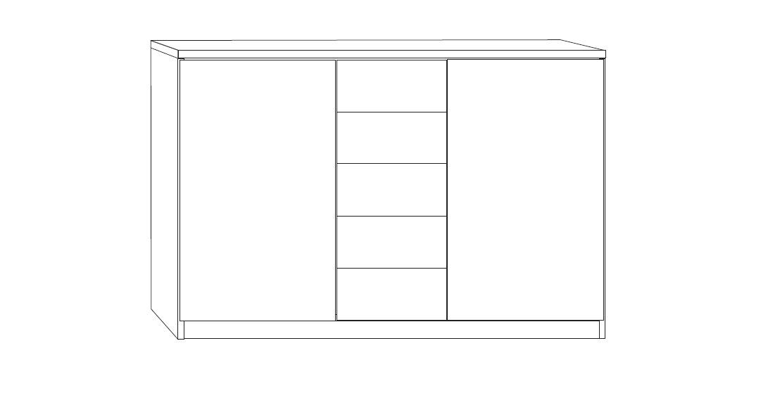 Kombi-Kommode Ageo mit Schubladen und Türen