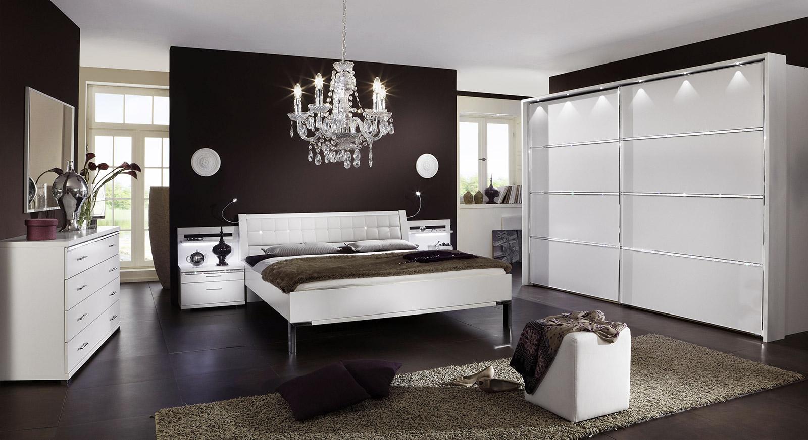 Komplett-Schlafzimmer Weiß Mit Strasssteinen