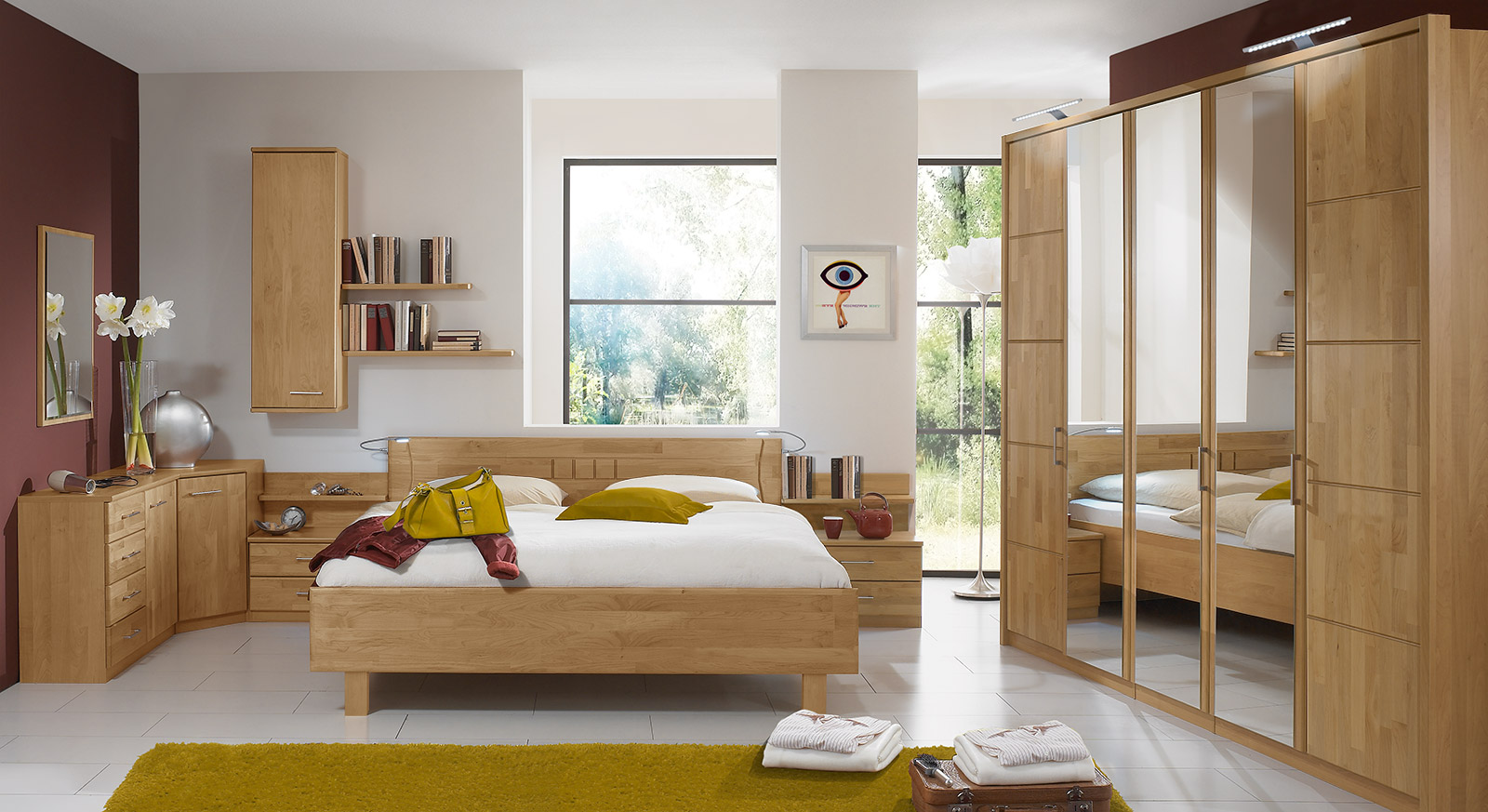 schlafzimmer erle teilmassiv mit vielen stauraumm beln beyla. Black Bedroom Furniture Sets. Home Design Ideas
