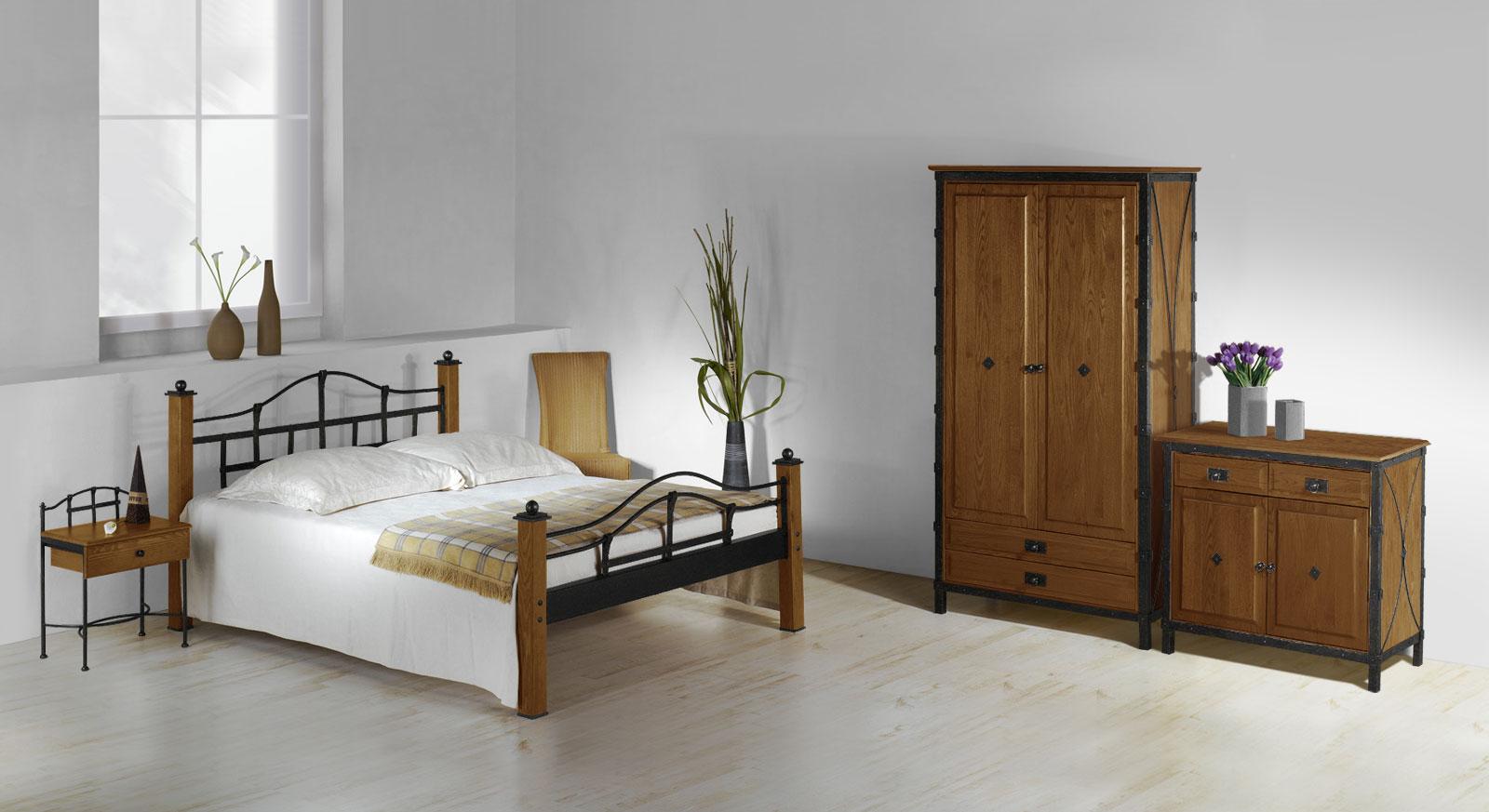 Komplett-Schlafzimmer Sinja mit Metalleinsatz