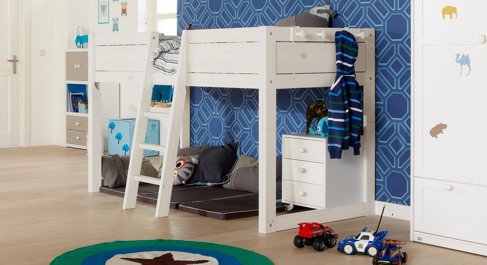 Kinderbett 4-in-1 als Hochbett hier in Weiß lasiert
