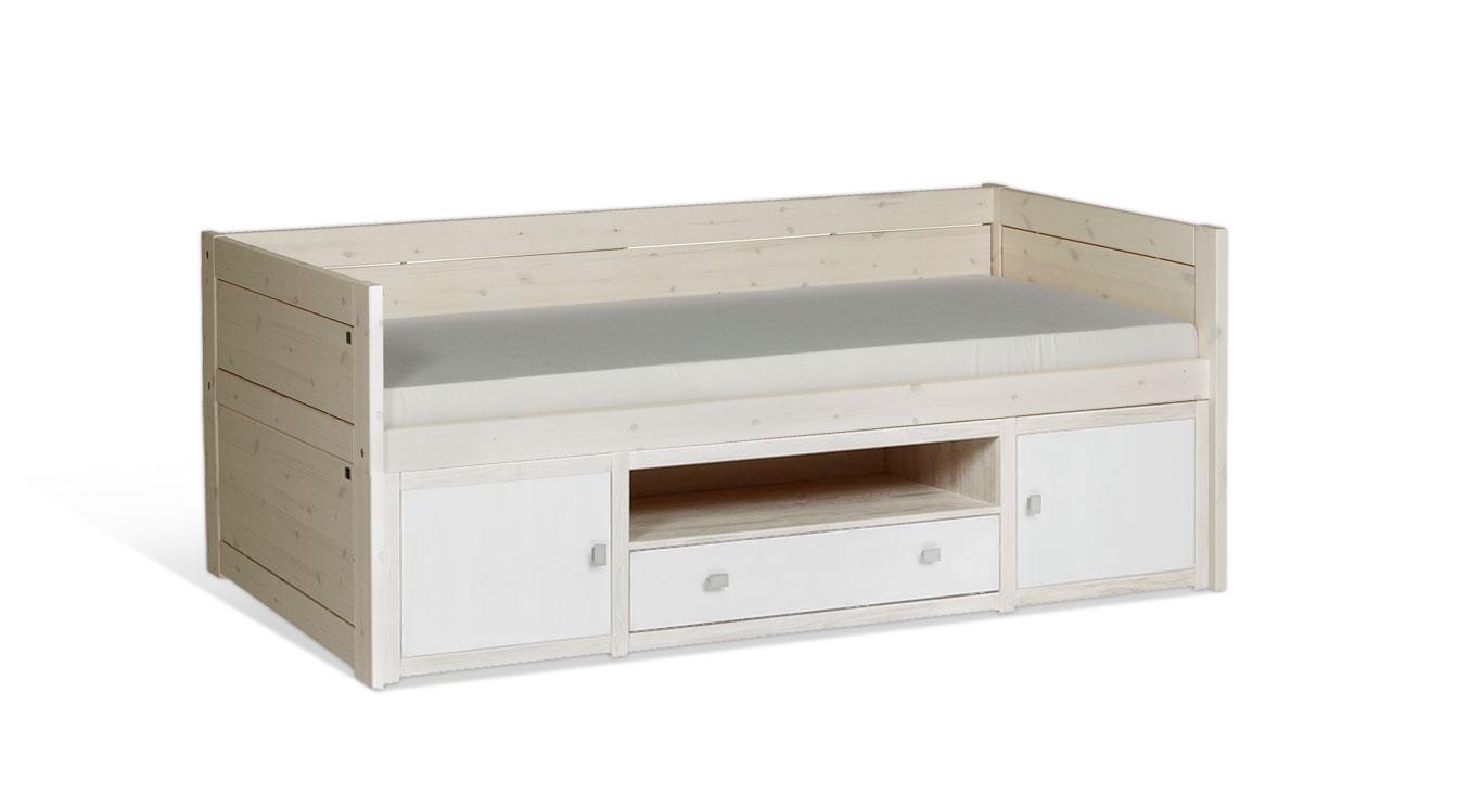 Weiß lasiertes LIFETIME Kojenbett Original mit lackierter Front
