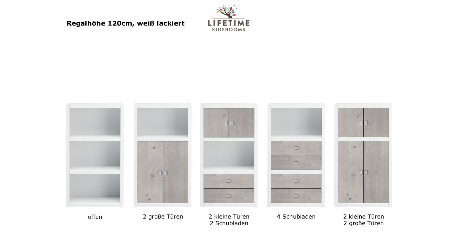 LIFETIME Regalsystem Original Hoehe 120cm weiss lackiert