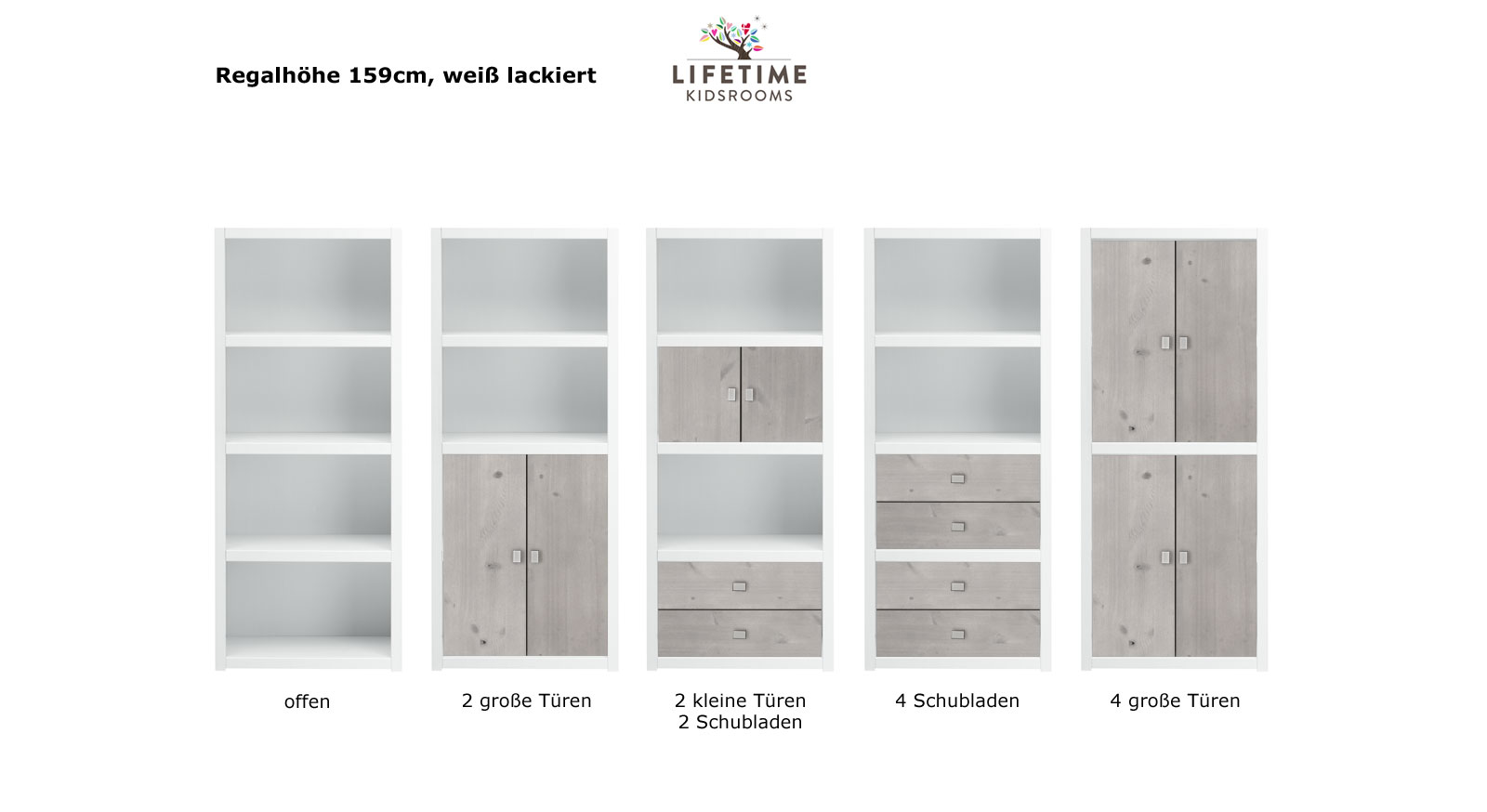 LIFETIME Regalsystem Original Hoehe 159cm weiss lackiert