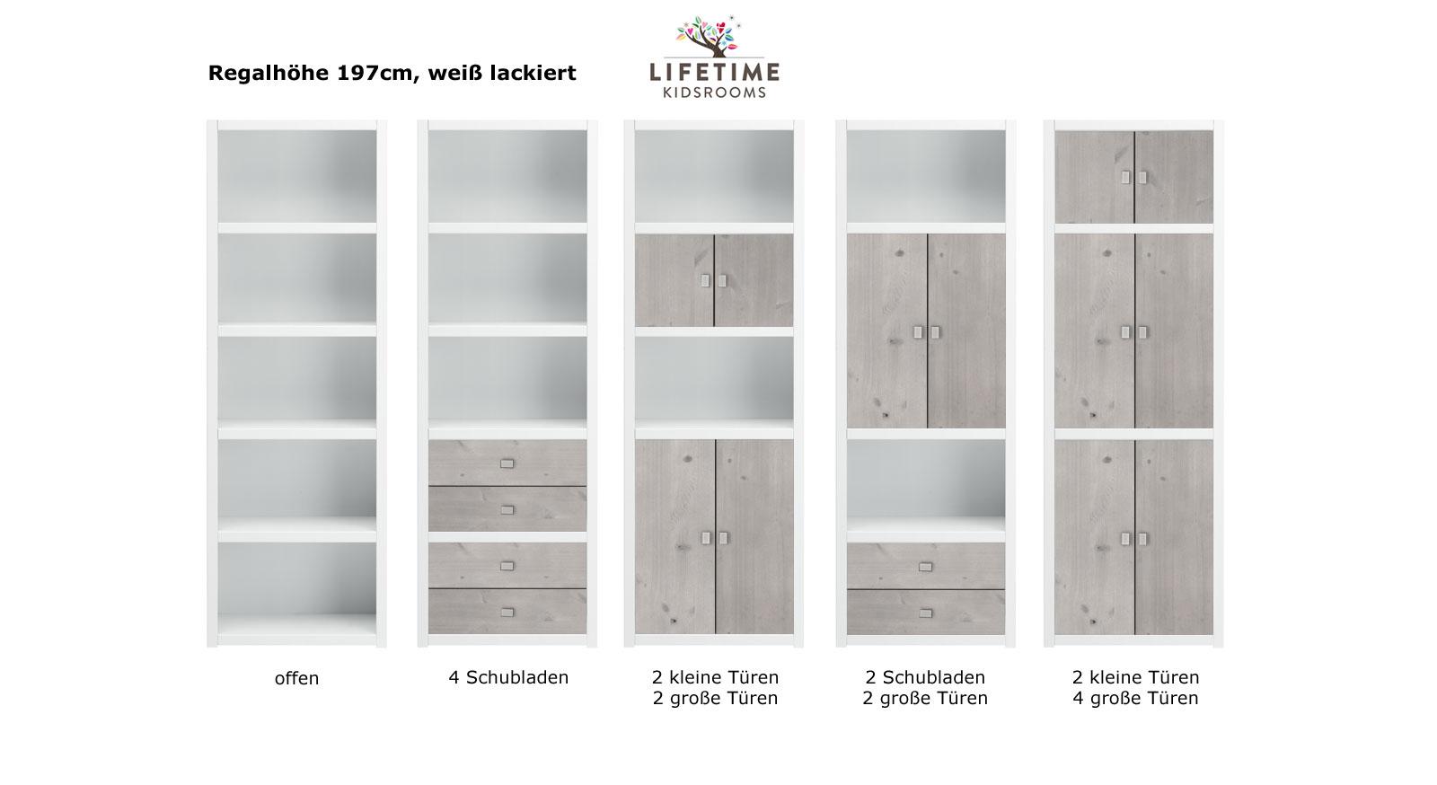 LIFETIME Regalsystem Original Hoehe 197cm weiss lackiert