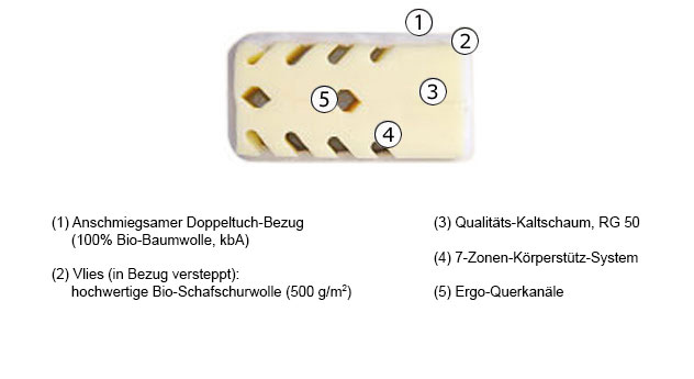 Matratze Lineavita Premium Natur Kaltschaum Aufbau