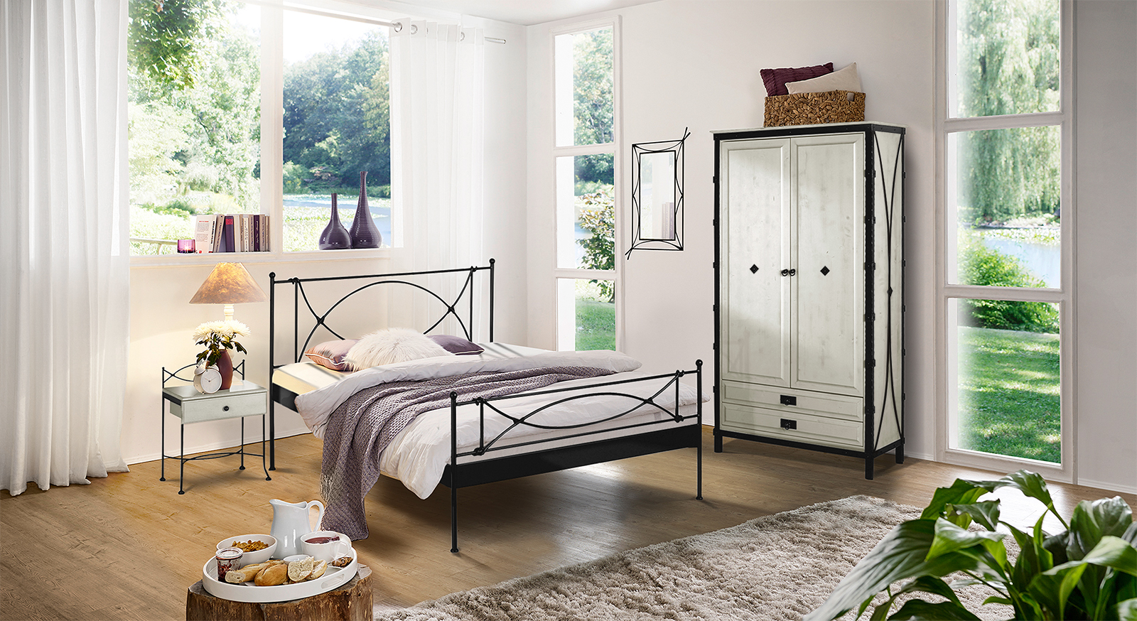 schlafzimmer im komplettangebot mit metallbett ordino. Black Bedroom Furniture Sets. Home Design Ideas
