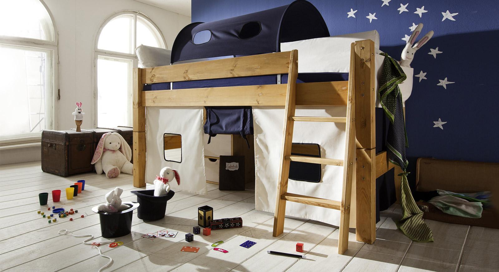 Hochwertiges Mini-Hochbett Kids Dreams in Kiefer gelaugt/geölt