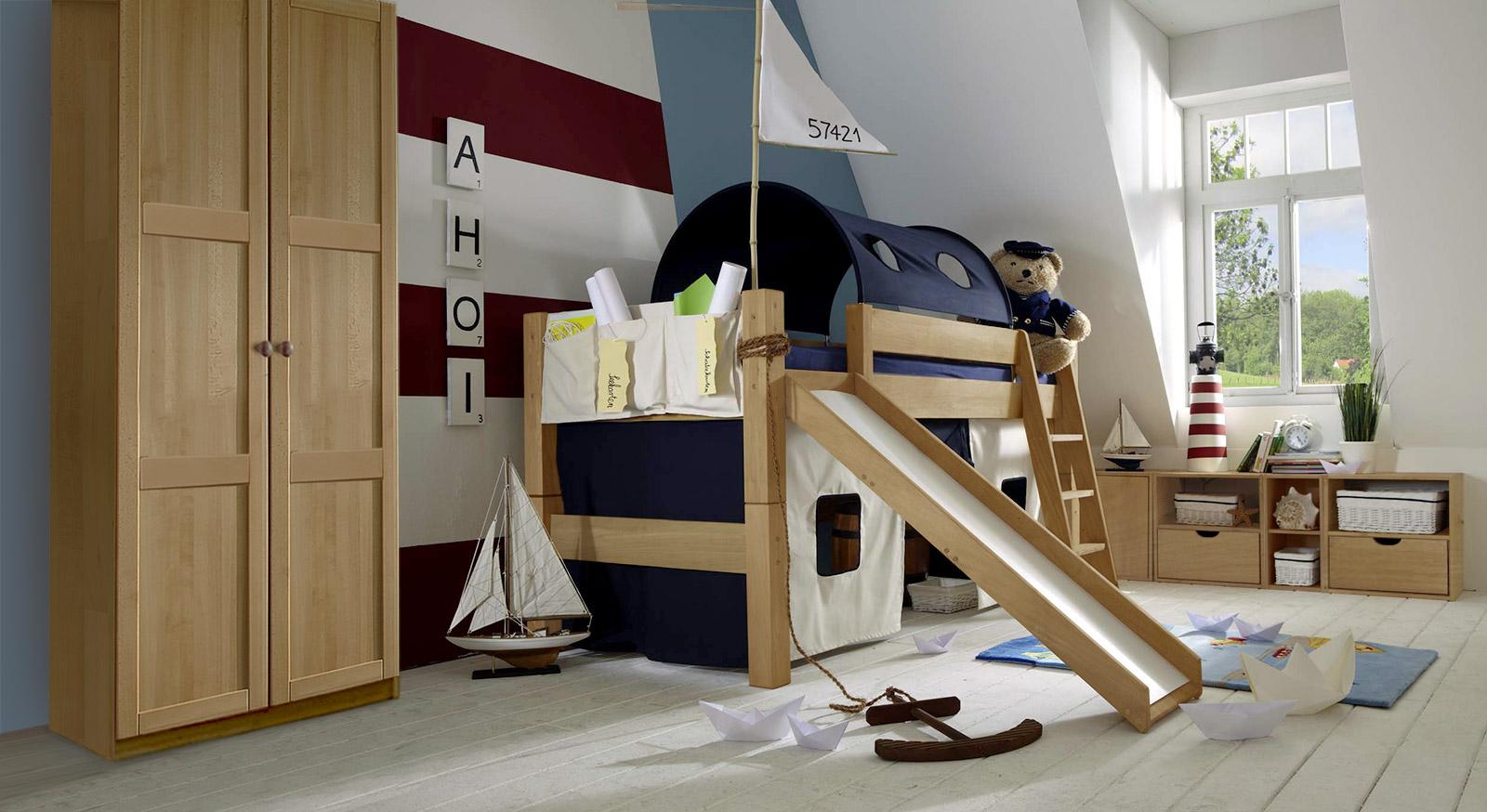 Mini-Rutschen-Hochbett Kids-Fantasy aus Buche mit passenden Produkten