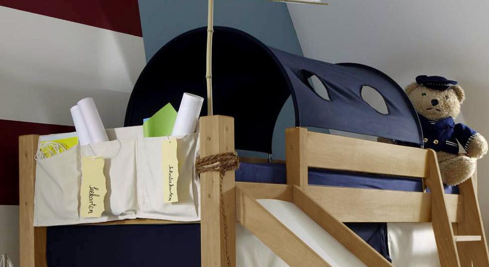 Mini-Rutschen-Hochbett Kids Fantasy mit Spieltunnel Zubehör