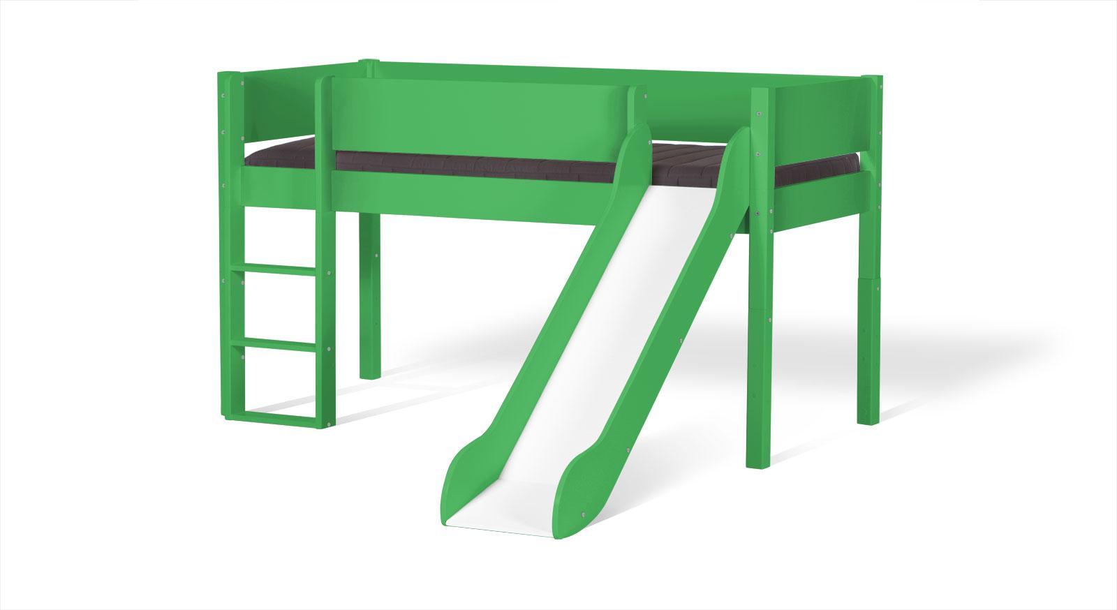 Grünes Mini-Rutschen-Hochbett Kids Town