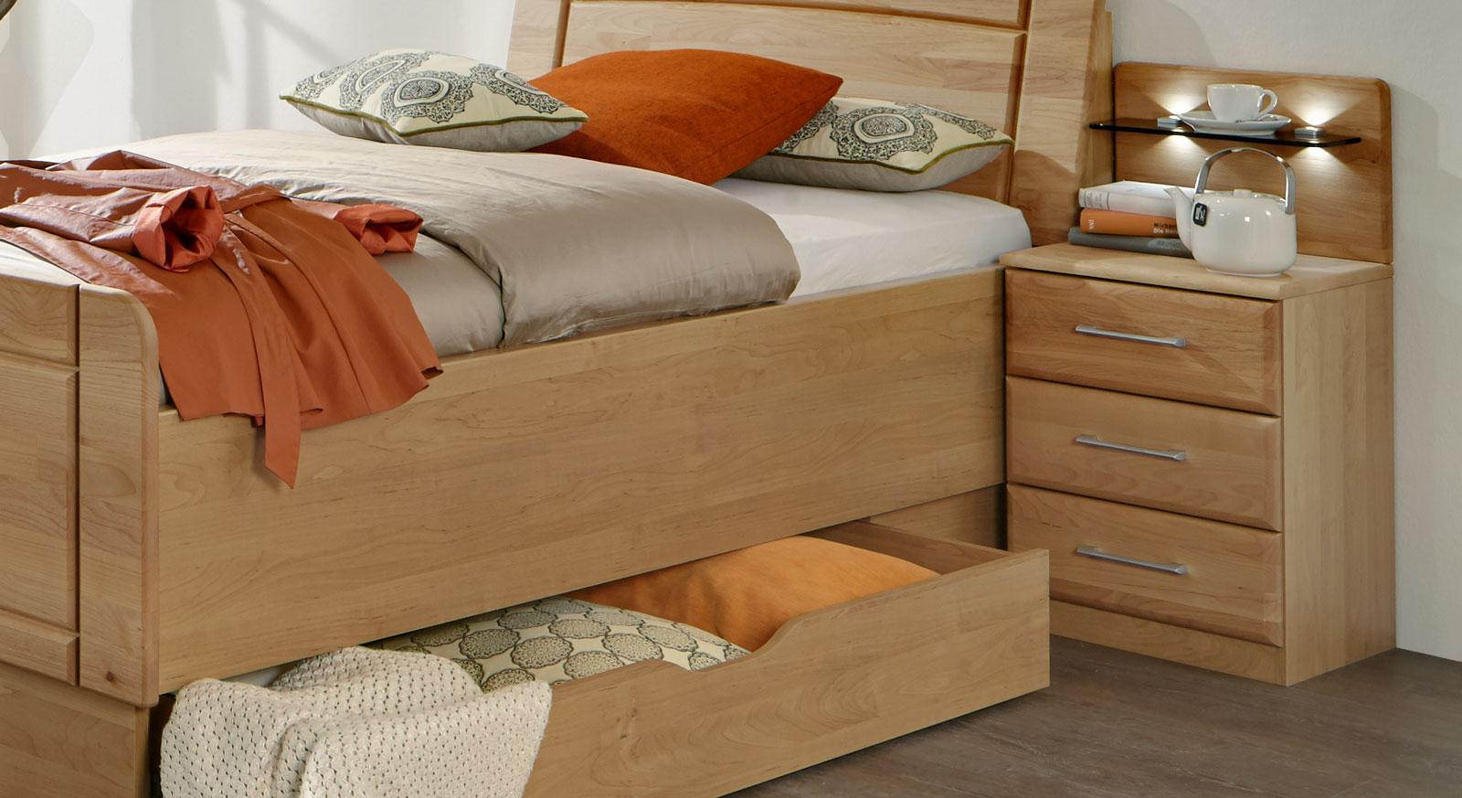 nachtkonsole mit schubladen beleuchtung erle teilmassiv. Black Bedroom Furniture Sets. Home Design Ideas