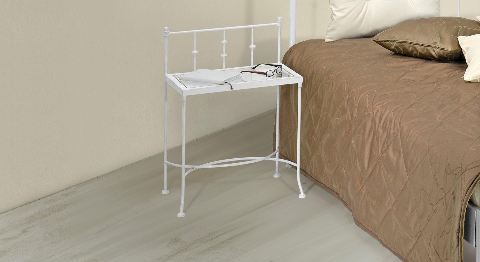 Nachttisch Astara in Weiß, silber-gewischt