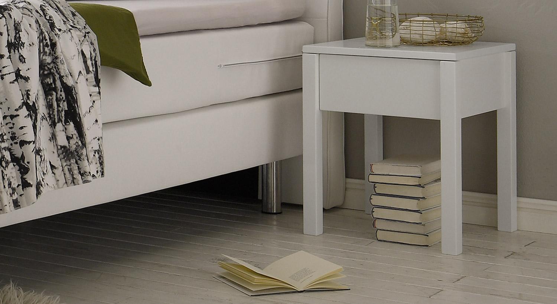 Nachttisch Berea in deckend weißer Buche