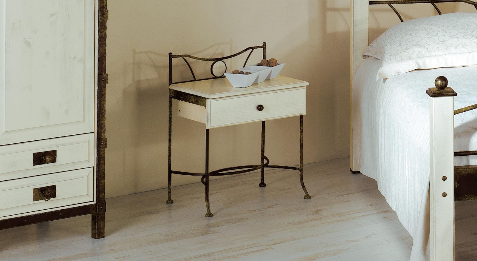 Nachttisch Lavia in Braun-Gold und weißer Eiche