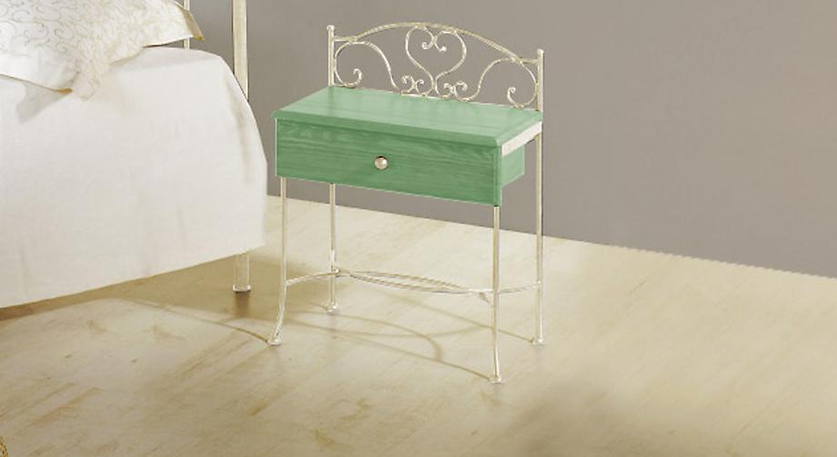 Nachttisch Loria in Grün mit Creme, gold-gewischt