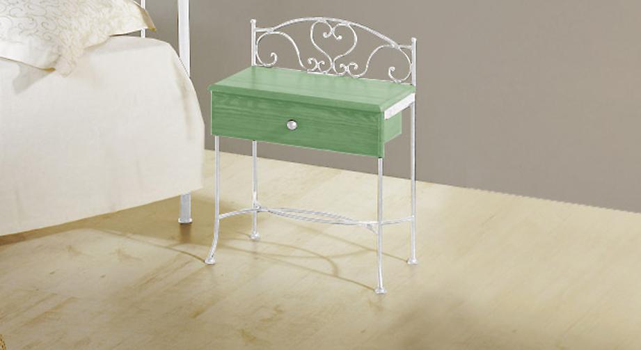 Nachttisch Loria in Grün mit Weiß, silber-gewischt
