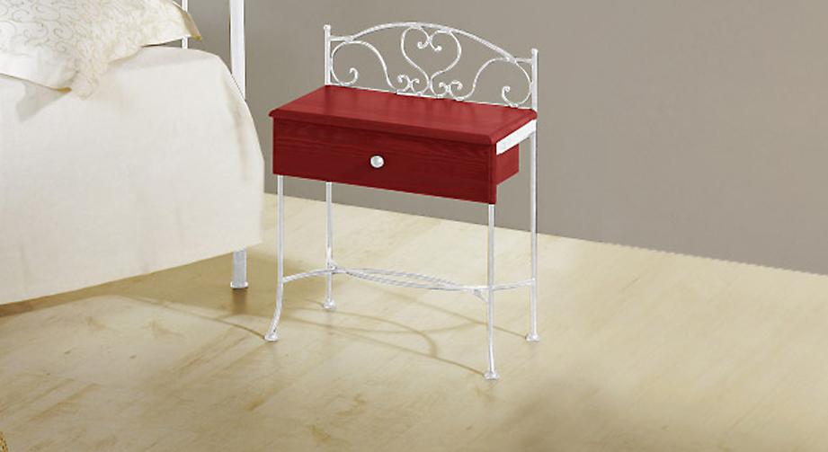 Nachttisch Loria in Rot mit Weiß, silber-gewischt