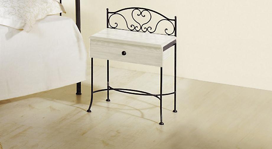 Nachttisch Loria in Weiß mit Anthrazit, gold-gewischt