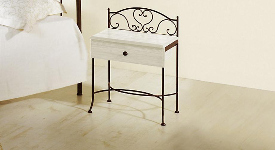 Nachttisch Loria in Weiß mit Braun, gold-gewischt