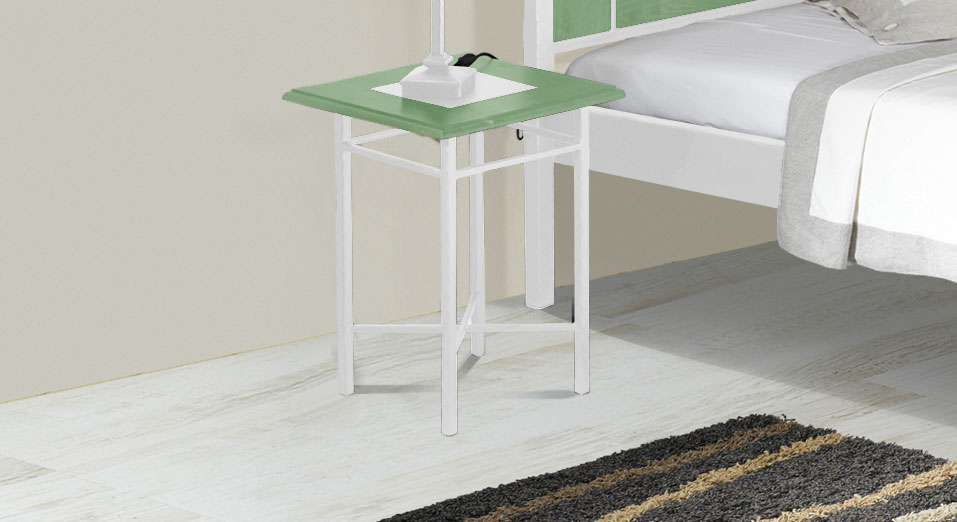 40x40 cm gro er nachttisch aus eiche metall pintana. Black Bedroom Furniture Sets. Home Design Ideas