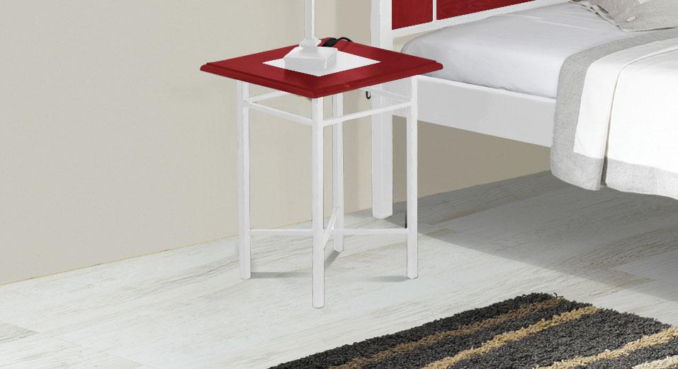 Nachttisch Pintana in roter Eiche und Weiß-Silber