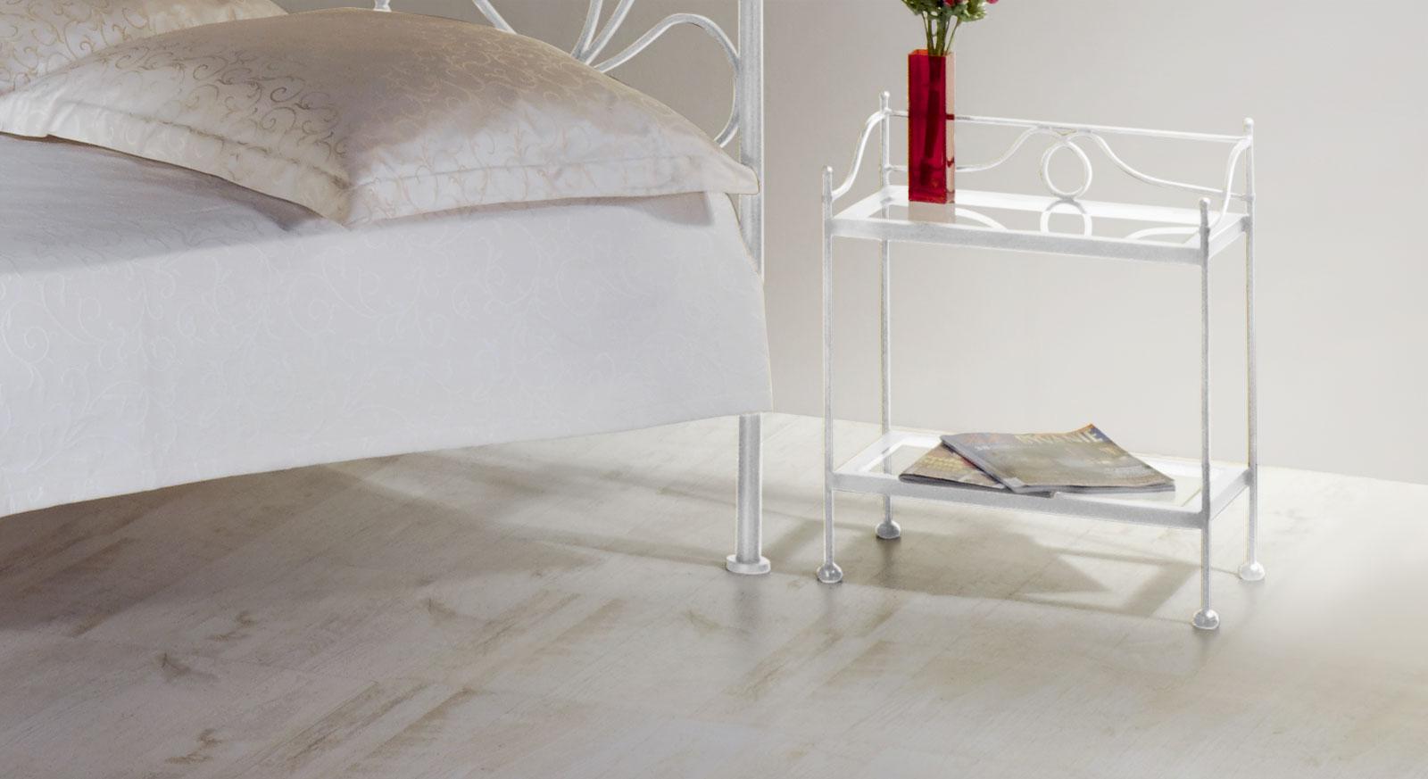 Nachttisch San Pedro in Weiß, silber-gewischt