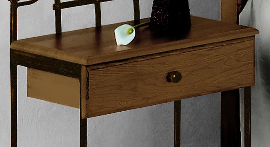 Nachttisch Sinja mit hölzerner Ablagefläche und Schublade
