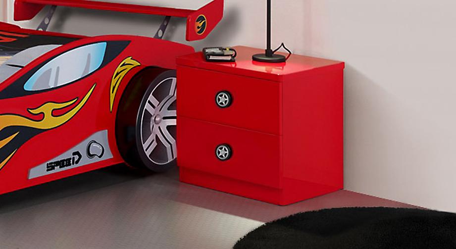 Rot lackierter kinder nachttisch im rennwagen design tuning - Kinderzimmer rot ...