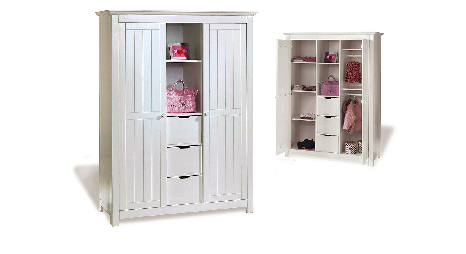 kleiderschrank f rs kinderzimmer aus wei er fichte nina. Black Bedroom Furniture Sets. Home Design Ideas