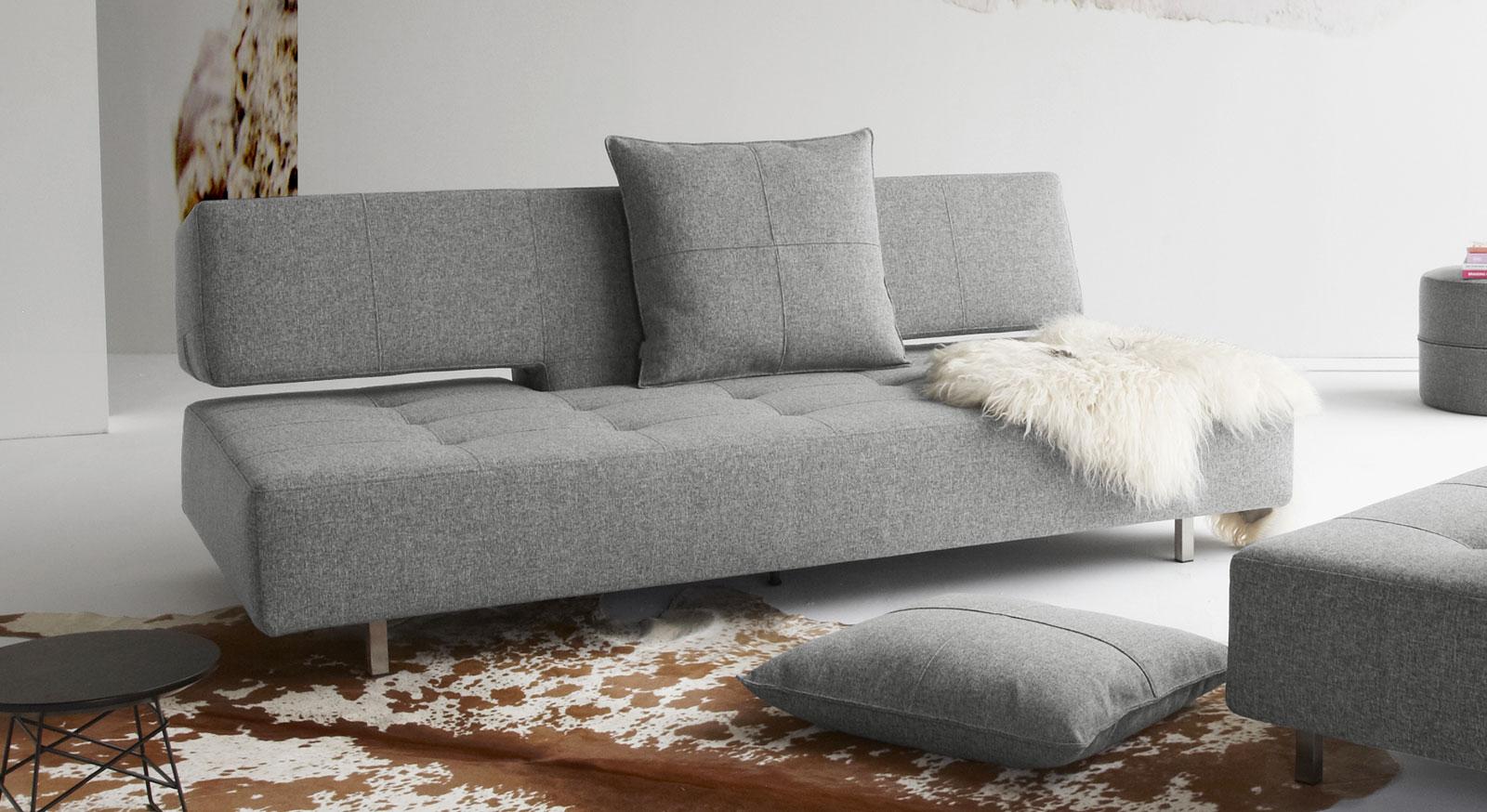 Modernes Schlafsofa und Doppelbett Ross in Grau.