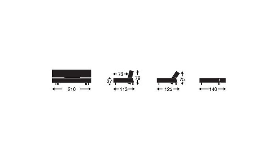 Maße der verschiedenen Positionen des Schlafsofas Ross.