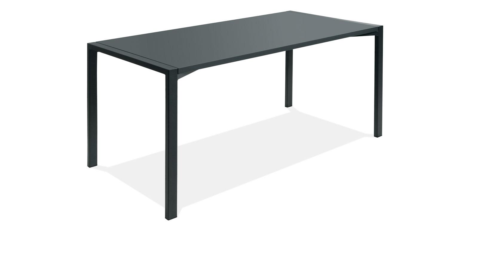 Anthrazitfarbener Schreibtisch Felipe aus MDF und Stahl