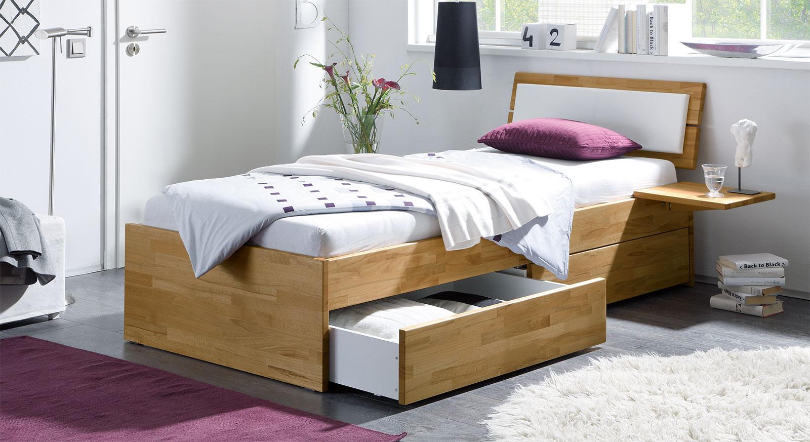 Schubkasten-Bett Leova aus Kernbuche natur