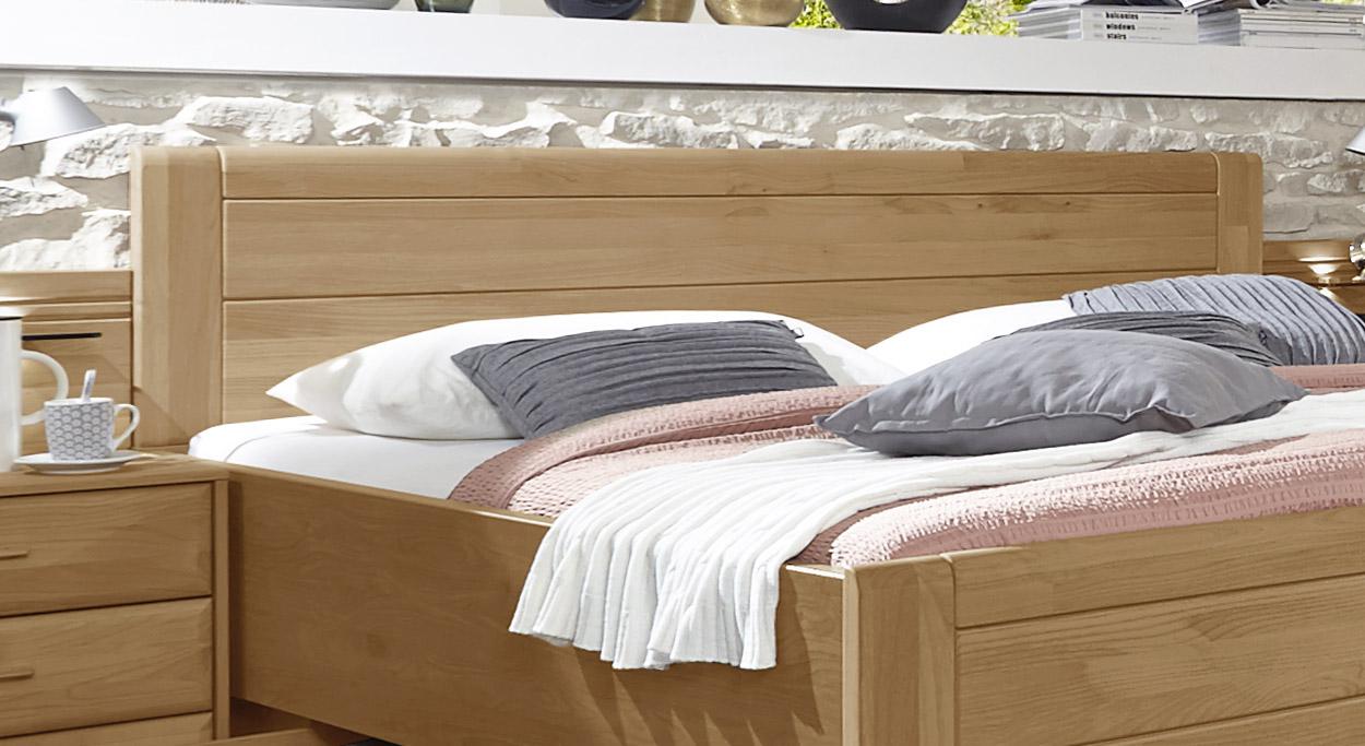 Schubkasten-Doppelbett Narita mit Zierfräsung im Kopfteil