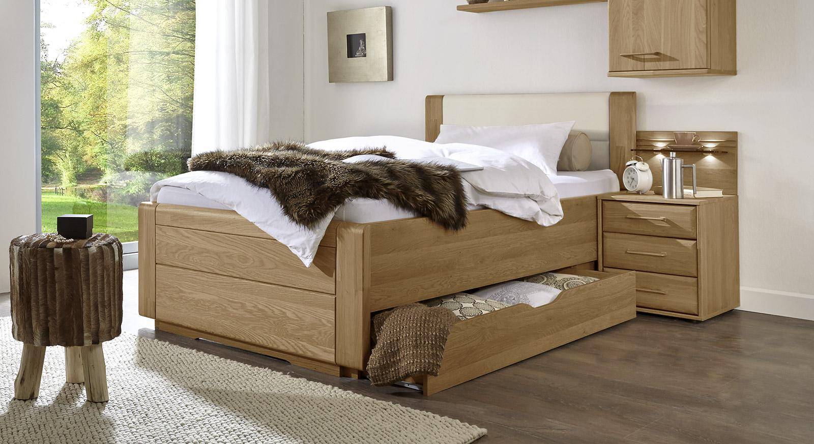 Schubkasten-Einzelbett Raida inklusive Kopfteil mit Kunstledereinsatz