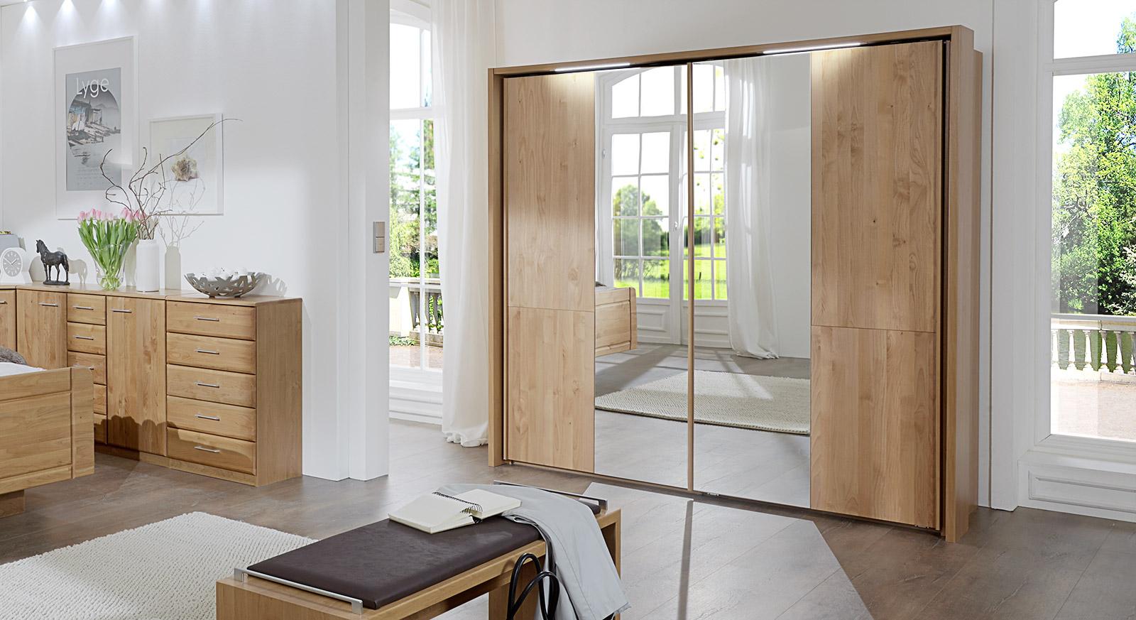 Natur lackierter Schwebetüren-Kleiderschrank Ageo mit Spiegel
