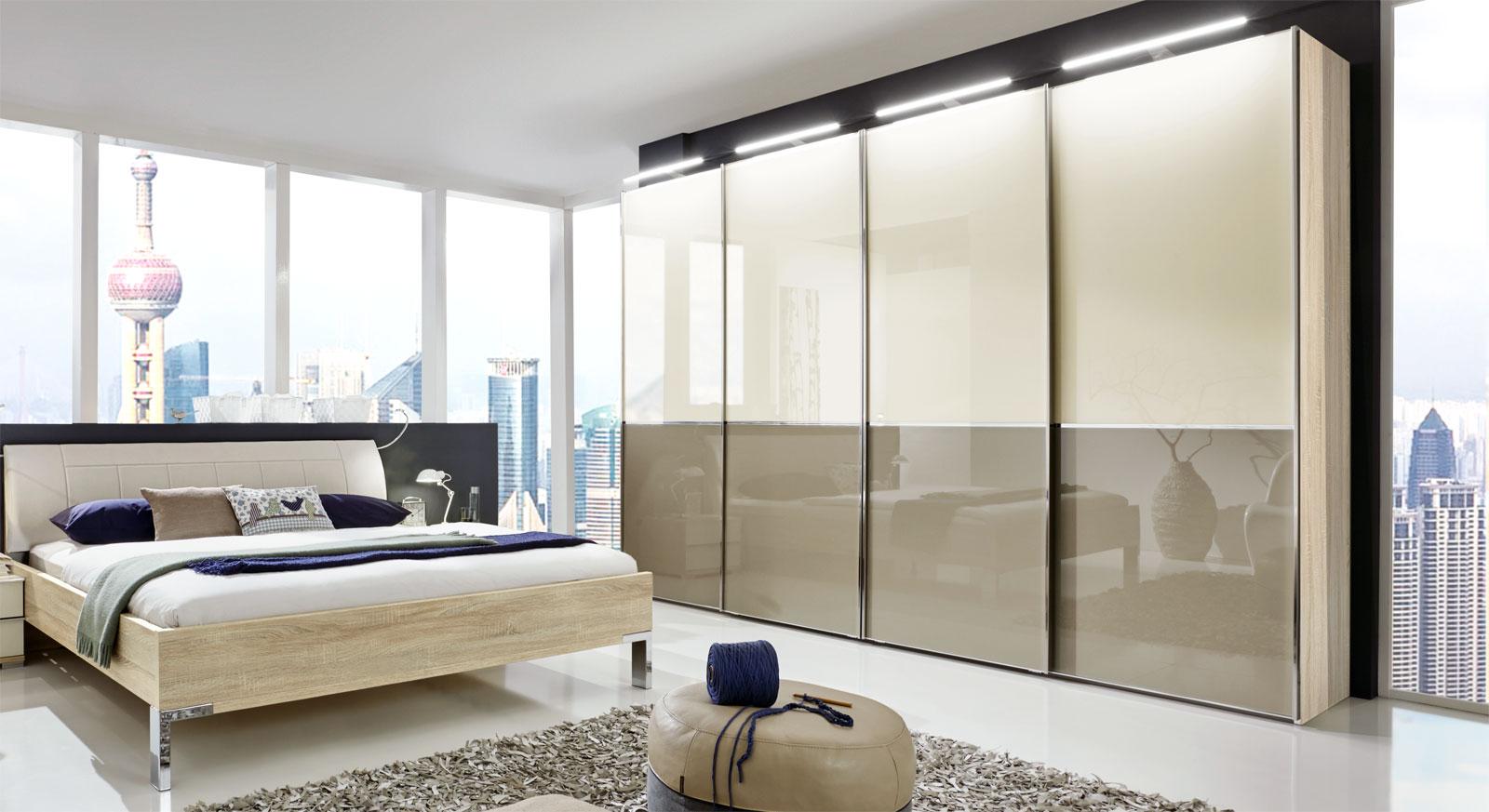 Schwebetürenschrank in Dekor mit Glasfront 2 bis 4 türig - Banga