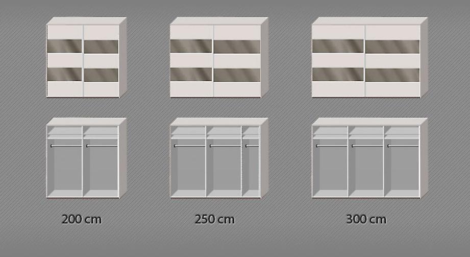 Inneneinteilungsskizze zum Schwebetüren-Kleiderschrank Baria in den Breiten 200 bis 300 cm