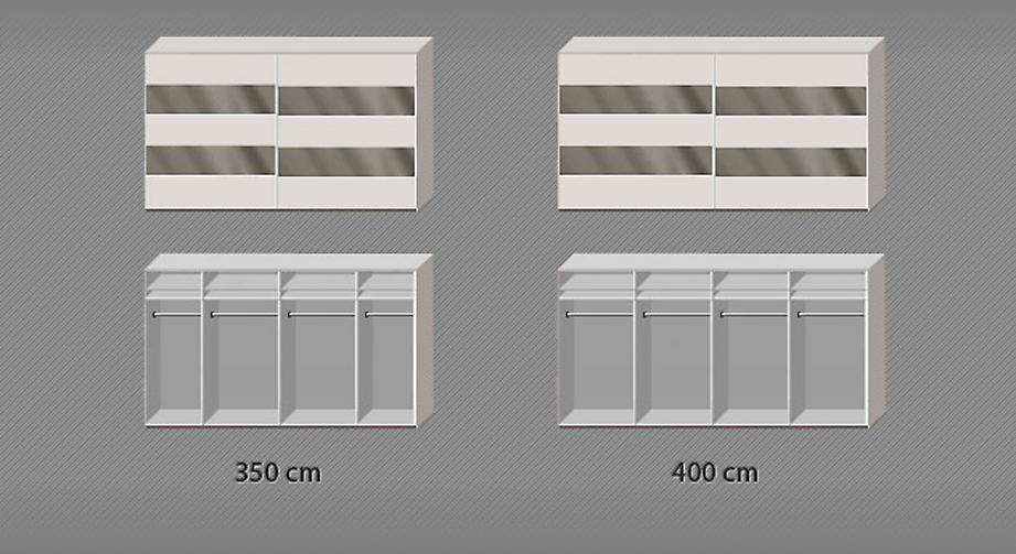 Inneneinteilungsskizze zum Schwebetüren-Kleiderschrank Baria in den Breiten 350 und 400 cm