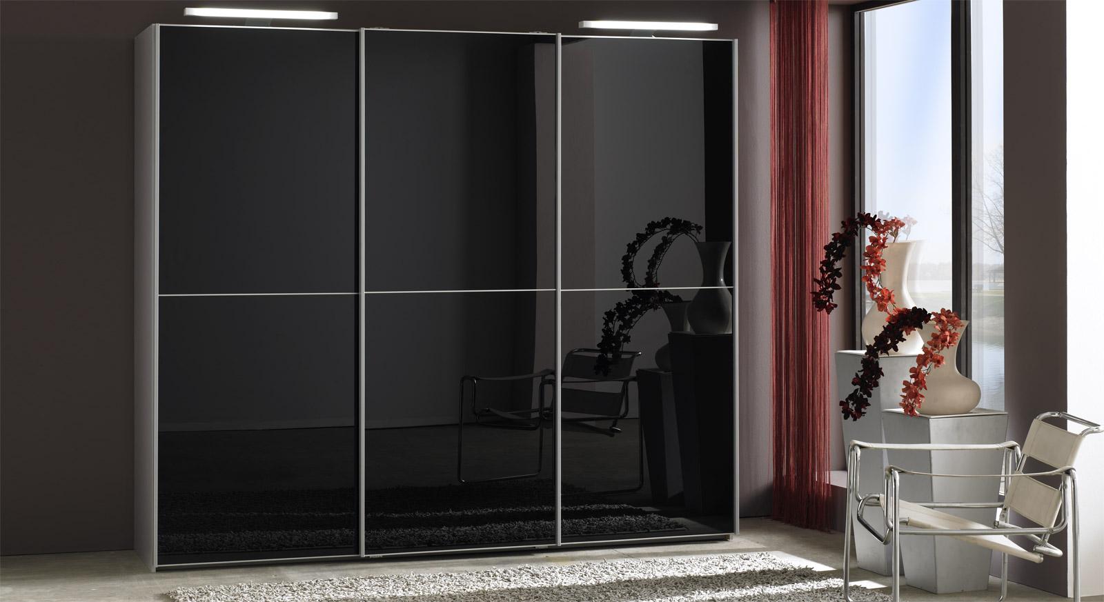 Schwebetüren-Kleiderschrank Madison Schwarz-Glas Silberfarben-Dekor
