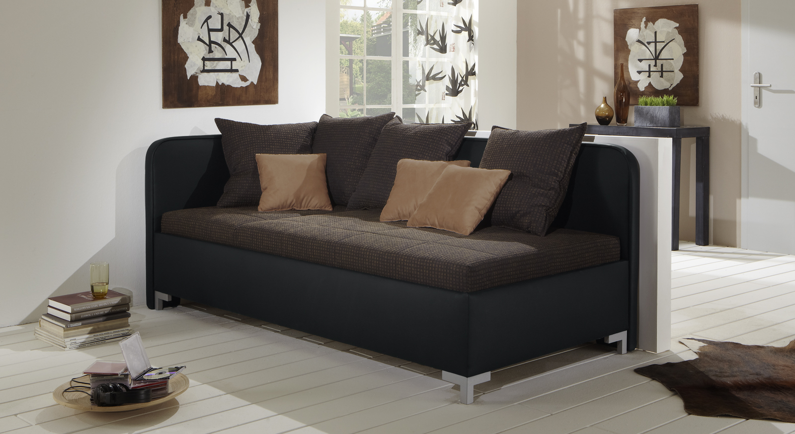 studioliege mit bettkasten z b mit lattenrost matratze. Black Bedroom Furniture Sets. Home Design Ideas