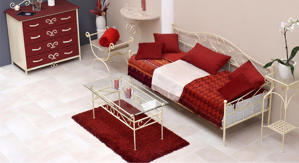 Nicht ausziehbares Tagesbett Gora in Creme