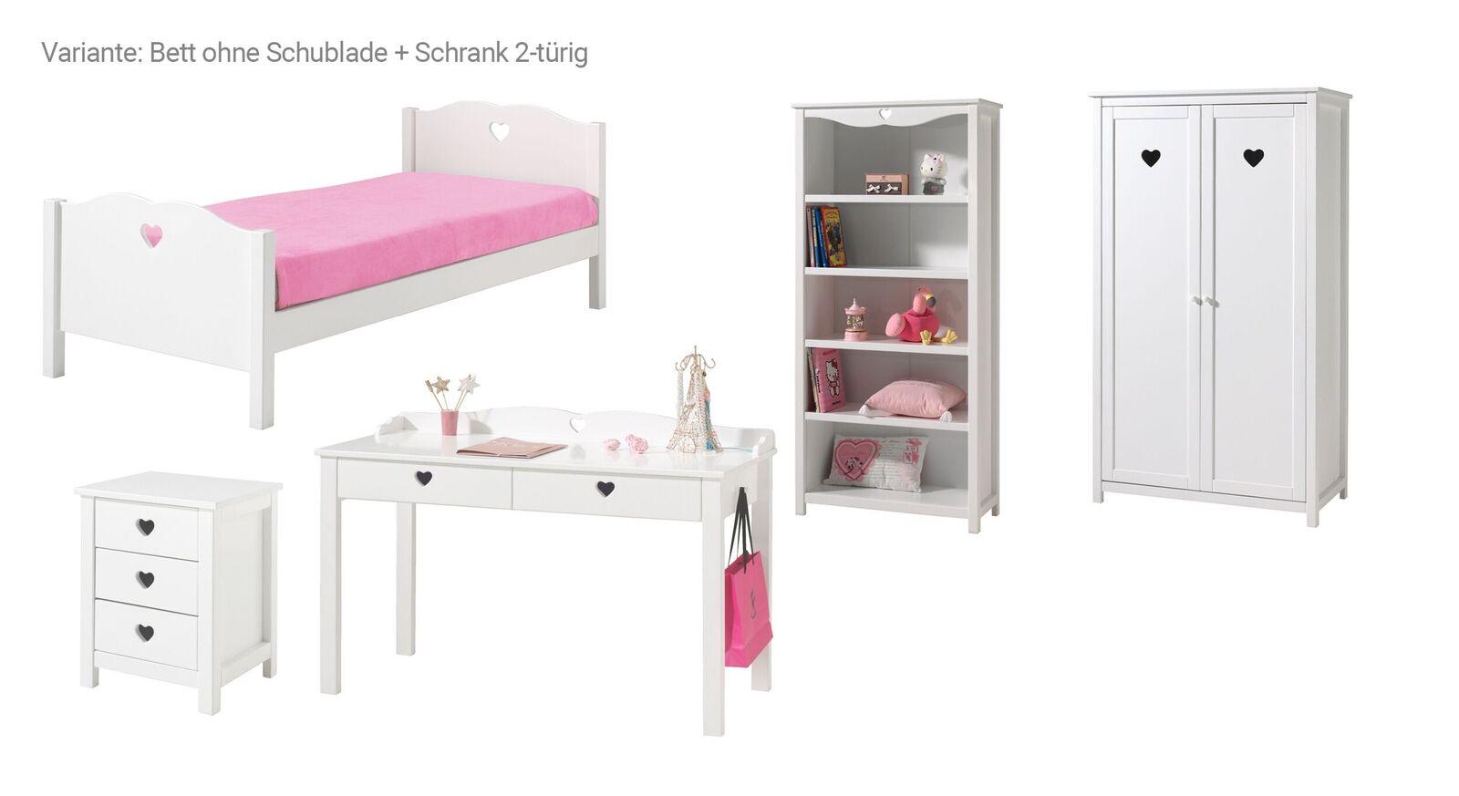 5-tlg Jugendzimmer Asami Bett ohne Schublade und 2-türiger Schrank